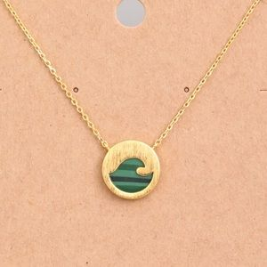 Mini Wave Charm Coin Necklace Gold